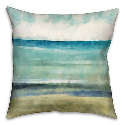 Cool ocean abstract 18 inch throw pillow in blue beige for Cool couch pillows
