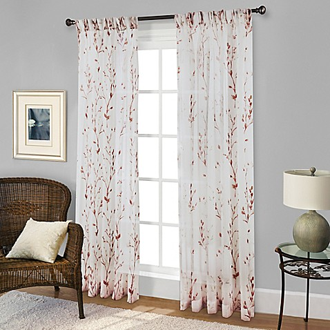 Buy Willow Print Pinch Pleat 63 Inch Sheer Window Curtain