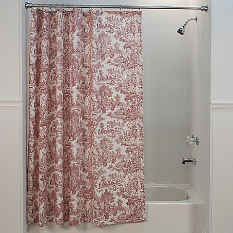 Buy victoria park toile shower curtain in red from bed bath beyond - Toile bathroom decor ...