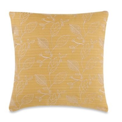 Decorative Pillow Makers : Make-Your-Own-Pillow Germaine Leaves Throw Pillow Cover in Yellow and Cream - Bed Bath & Beyond