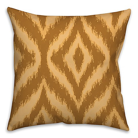 Ikat 18-Inch Square Throw Pillow in Brown/Cream - Bed Bath & Beyond
