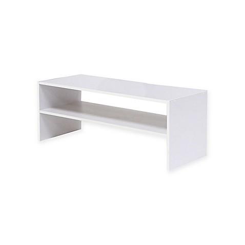 Stackable 31 Inch Horizontal 2 Shelf Organizer In White