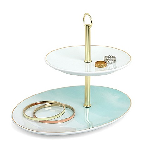 Umbra watercolor oval jewelry organizer in blue bed for Bathroom jewelry holder