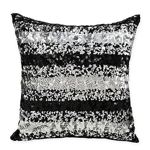 Black Sparkle Throw Pillow : Michael Amini Sequin Stripe Throw Pillow in Black - Bed Bath & Beyond