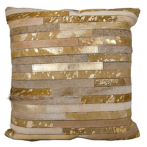 Buy Michael Amini Stripes Square Throw Pillow in Beige from Bed Bath & Beyond
