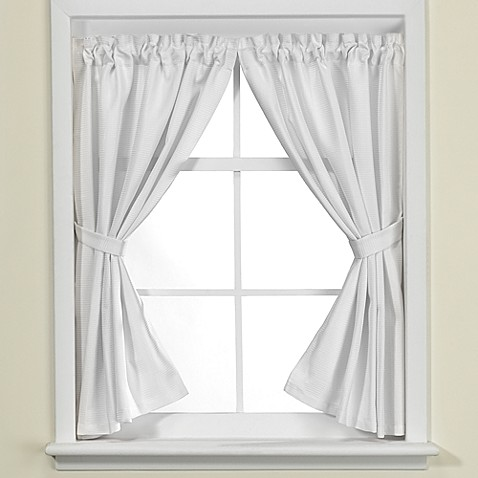 Westerly bathroom window curtain pair in white bed bath for Bathroom window curtains