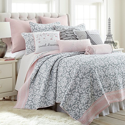 Levtex Home Margaux Reversible Quilt Set In Grey Pink
