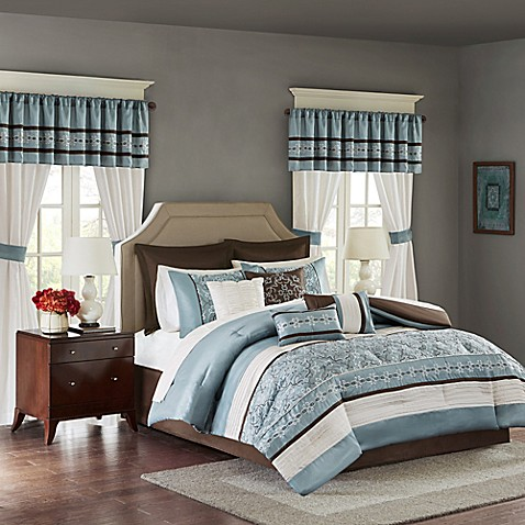 Madison park essentials jelena 24 piece complete comforter - Complete bedroom sets with curtains ...