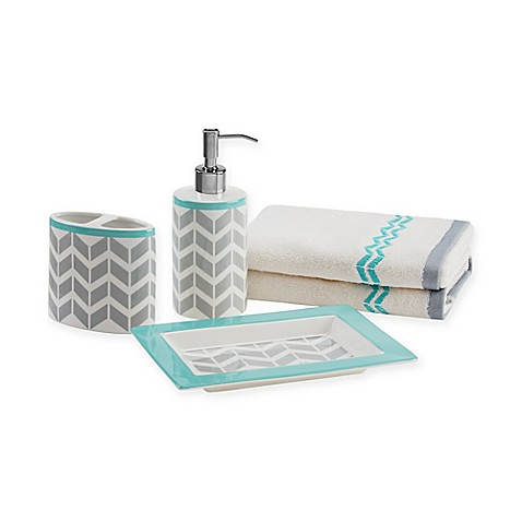 Buy intelligent design nadia 5 piece bath accessory set in for Teal bath sets