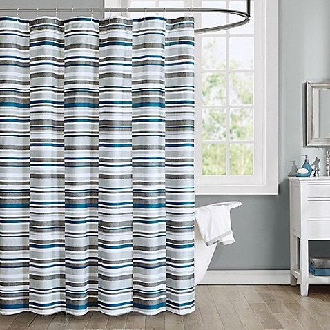 intelligent design emmet printed shower curtain in blue