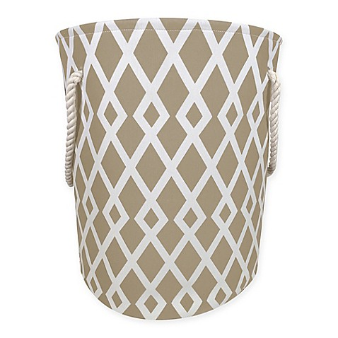 Diamond Print Canvas Fabric Hamper In Tan White Bed Bath