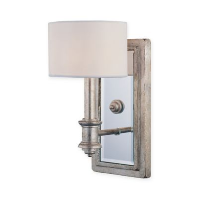 Wall Lamps Bed Bath Beyond : Buy Caracas Wall Mount Light Sconce in Bark with White Shade from Bed Bath & Beyond