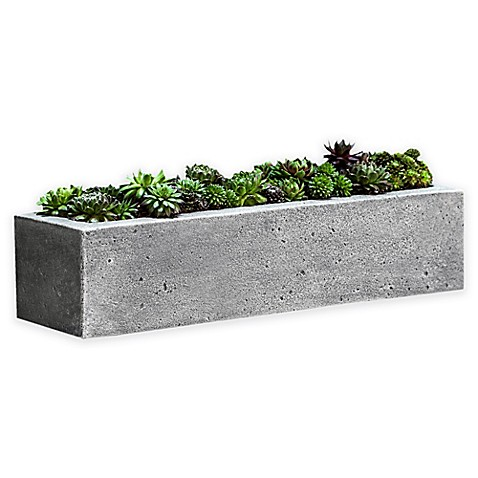 Campania Basic Element Long Planter In Alpine Stone Bed
