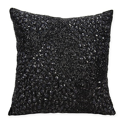 Black Beaded Throw Pillow : Buy Mina Victory Fully Beaded Square Throw Pillow in Black from Bed Bath & Beyond
