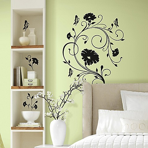 Floral vine peel and stick giant wall decals bed bath Floral peel and stick wallpaper