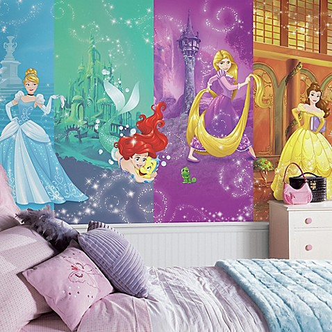 Disney princess scenes xl chair rail prepasted 10 5 foot x for Disney princess ballroom mural