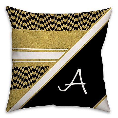 Black Throw Pillows Bed Bath And Beyond : Buy Chevron Checkerboard 18-Inch Square Throw Pillow in Black/Gold from Bed Bath & Beyond