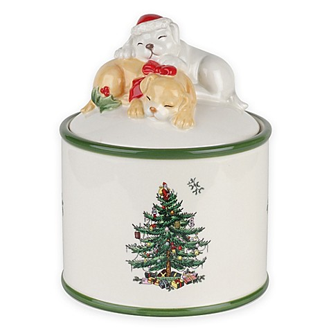 Buy Spode Christmas Tree Puppy Candy Jar From Bed Bath Beyond