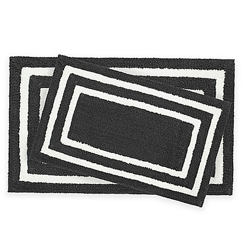 Black and white bathroom rug sets for Black and white bathroom mats