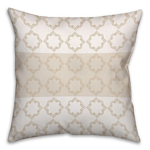 Square Throw Pillow Pattern : Quatrefoil Pattern Square Throw Pillow in Ivory/Beige - Bed Bath & Beyond