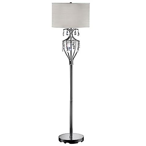 Buy mildred caged crystal floor lamp in black chrome with for Mayer floor lamp black chrome