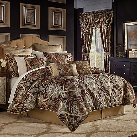 Croscill bradney comforter set bed bath beyond for Red and gold bathroom set