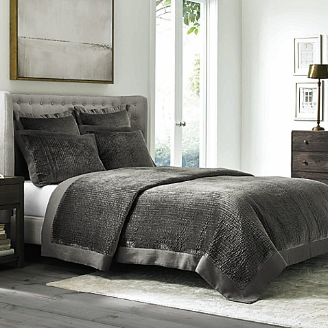 Wamsutta® Collection Velvet Coverlet in Grey at Bed Bath & Beyond in Cypress, TX | Tuggl