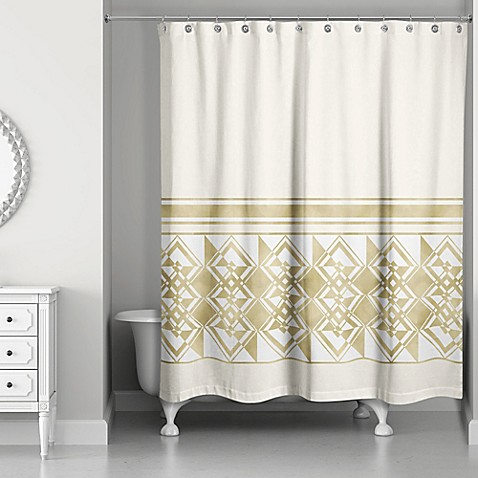 Decorative Weighted Shower Curtain in Ivory/Gold - Bed ...