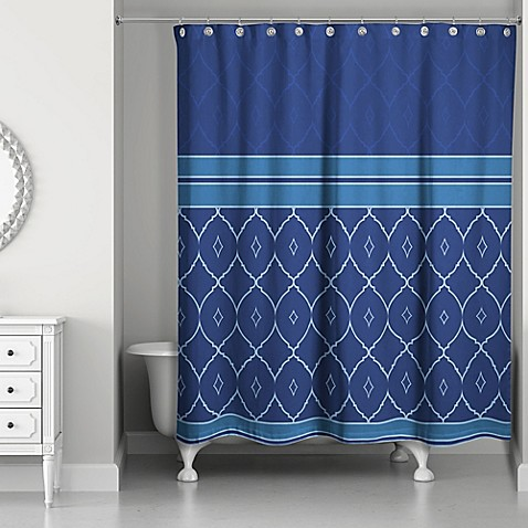 quatrefoil tone shower curtain in blue bed bath beyond