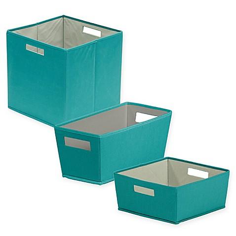 B in fabric storage bin in teal bed bath beyond for Teal bathroom bin