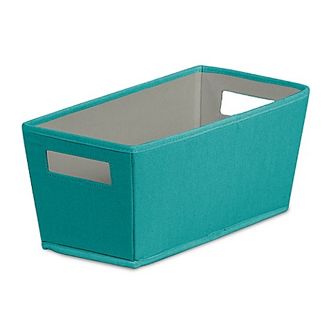 Buy b in fabric quarter storage bin in teal from bed bath for Teal bathroom bin