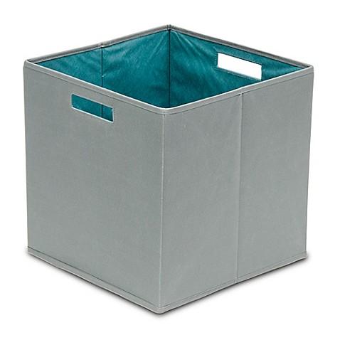 Buy b in castlerock fabric full storage bin in dark grey for Dark grey bathroom bin
