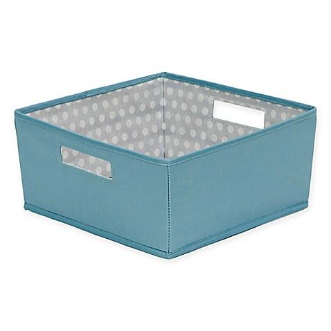 Buy b in nile blue fabric half storage bin in nile blue for Blue bathroom bin