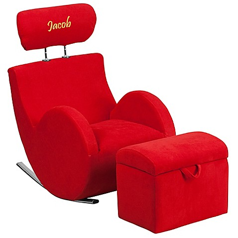 Flash furniture kids 39 rocking chair and ottoman set in red for Childrens rocking chair with footstool