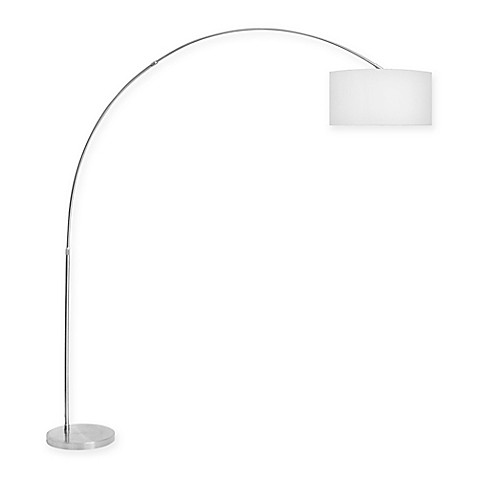 Buy lumisource salon floor lamp in white with fabric shade for Lumisource salon floor lamp in white