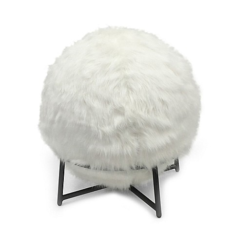 Inflatable Ball Chair With Faux Fur Cover And Stand In