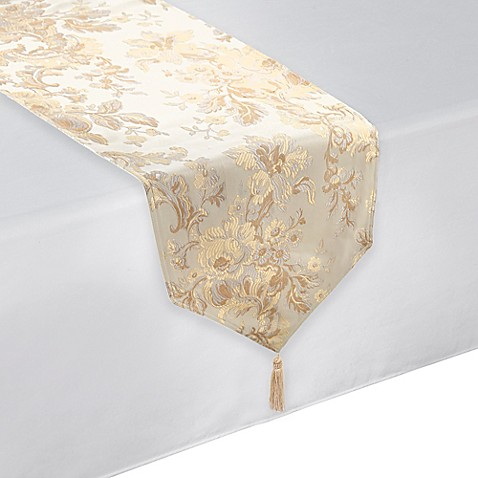 Waterford 174 Linens Marcelle Table Runner In Ivory Bed