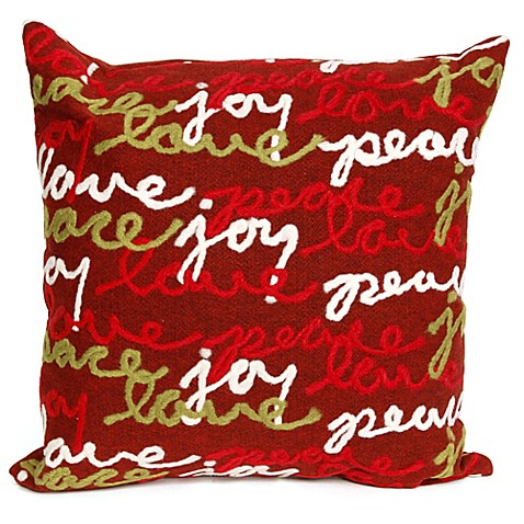 Red Throw Pillow For Bed : Buy Trans-Ocean Visions III Peace Love Joy Square Throw Pillow in Red from Bed Bath & Beyond
