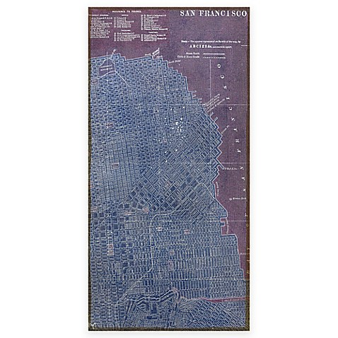 Buy map of san francisco antique wall art from bed bath for Buy reclaimed wood san francisco