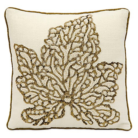 Mina Victory Luminescence Beaded Maple Leaf 12-Inch Square Throw Pillow in Ivory - Bed Bath & Beyond