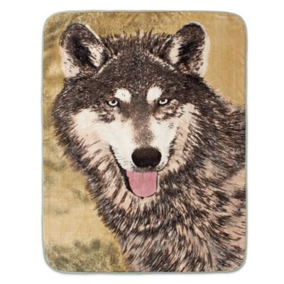 Shavel Home Products Brown Wolf Luxury Oversized Throw Blanket