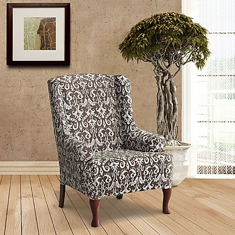 FurnitureSkins™ Bali Stretch Wing Chair Slipcover in ...