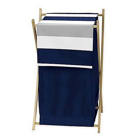 Sweet jojo designs navy and grey stripe hamper bed bath for Sweet jojo designs bathroom