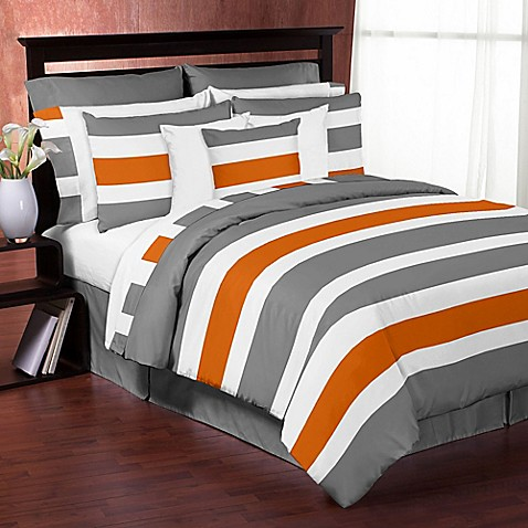 Buy Sweet Jojo Designs Grey And Orange Stripe Twin Comforter Set From Bed Bath Beyond