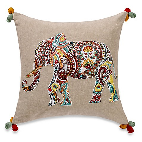 Elephant Throw Pillow Bed Bath And Beyond : Anthology Jodhpur Elephant Embroidered Square Throw Pillow - Bed Bath & Beyond