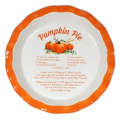 10 Inch Decorative Ceramic Pumpkin Pie Plate Bed Bath