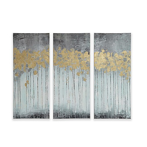 Madison park forest gel coat canvas with gold foil for Best brand of paint for kitchen cabinets with abstract panel wall art