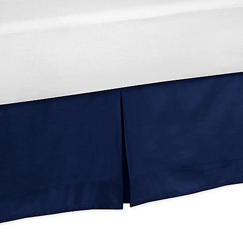 sweet jojo designs stripe king bed skirt in navy bed