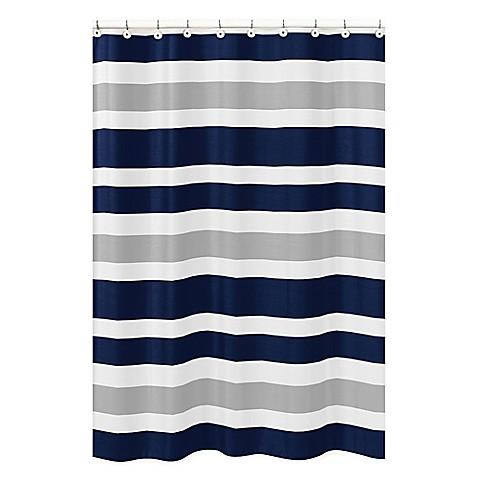 sweet jojo designs navy and grey stripe shower curtain