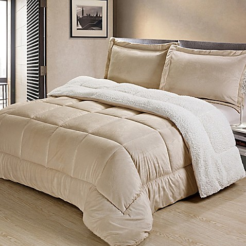 Sherpa Down Alternative Comforter Set Bed Bath Amp Beyond